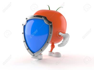 Tomato character with shield